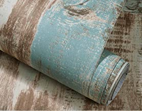 Self-Adhesive Peel and Stick Wallpaper,CHANMOL Distressed Wood Decorative Wallpaper for Bedroom Living Room TV Background Home Decor-20.67x 195 Inch (Vintage Blue)