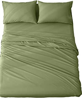 Queen Size Microfiber Bed Sheets | Soft and Cozy, Wrinkle Resistant & Fade Stain Resistant | Set of 6 Pieces – 1 Queen Flat Sheet, 1 Queen Fitted Sheet, 4 Pillowcases (Green)
