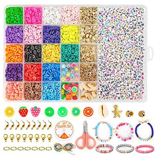 Sanlebi Abalorios para Hacer Pulseras, Colores Cuentas Arcilla Polimerica Piezas para Hacer Pulseras Collares Regalo para Niños Adultos