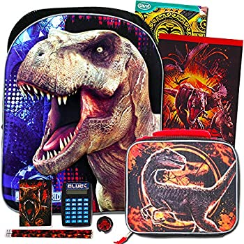 Jurassic World Backpack and Lunch Box 10 Pc Set for Boys Kids ~ Deluxe 16  Jurassic Park Backpack with Detachable Insulated Lunch Bag
