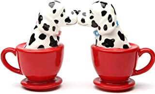 Pacific Giftware Kissing Dalmatian Dogs in Tea cup 3.5'' Tall Magnetic Salt and Pepper Shakers Set