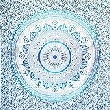 MOMOMUS Tapiz Mandala Sol - 100% Algodón, Grande, Multiuso - Plaid/Foulard/Tela/Colcha Ideal como Cubre Sofá/Cama - Azul