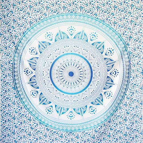 MOMOMUS Wandteppich Mandala - Sonne- 100% Baumwolle, Groß, Mehrzweck - Bettüberwurf/Sofaüberwurf & Überwurf für Sofa/Couch und Bett - Decke/Plaid/Tagesdecke - Blau
