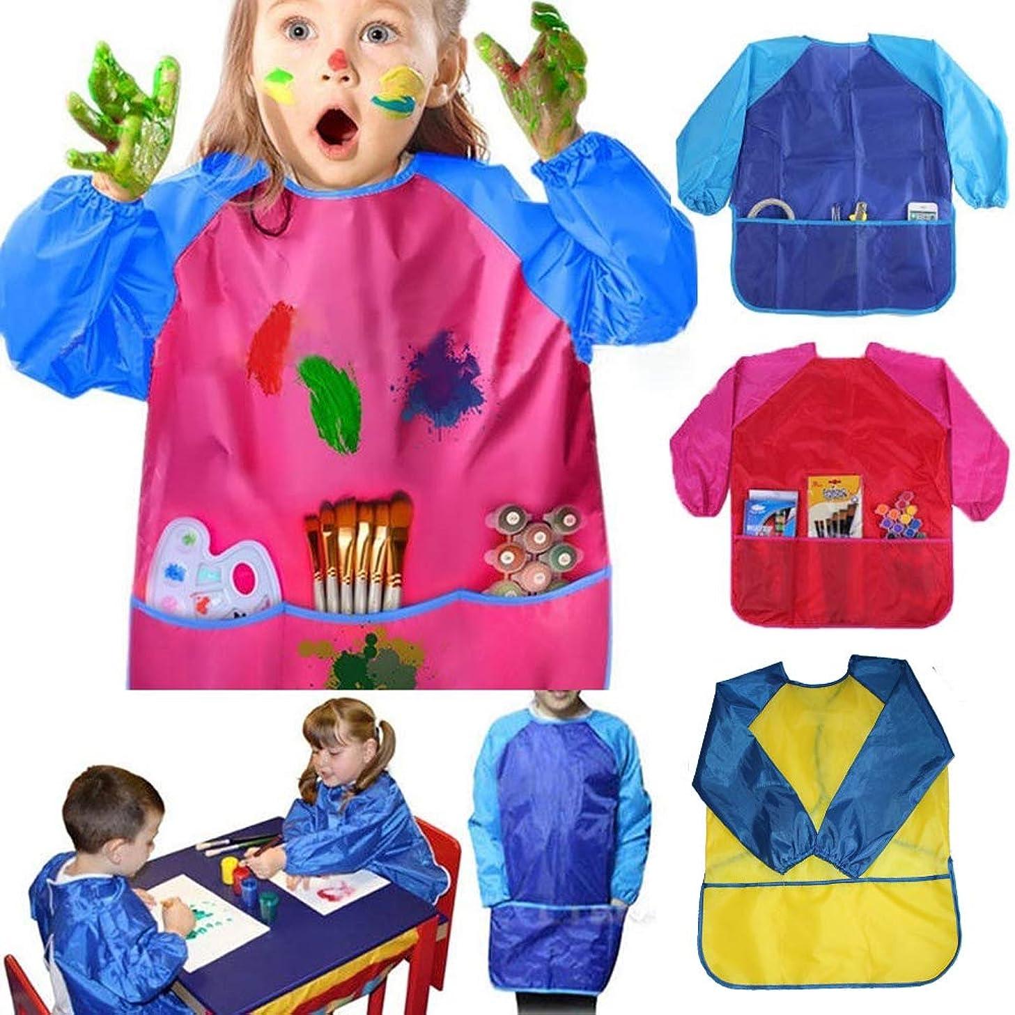 素朴な相対的対応子供防水長袖絵画調理エプロン幼稚園スモック学習教育用品 (赤とピンク)