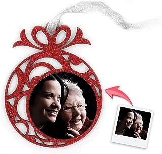 Getsingular Adornos de Navidad para árbol Personalizados con Foto | Adornos con Foto y Purpurina | Máxima Calidad de impresión | Incluye Cinta para Colgar | Modelo Bola fantasía Rojo