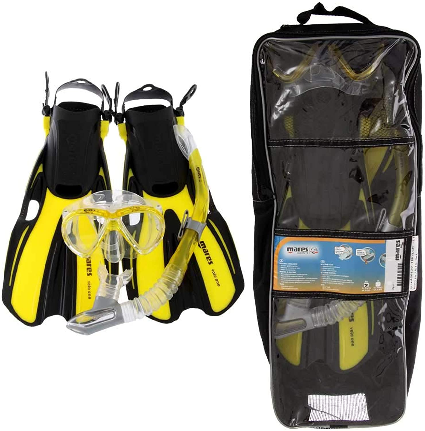 Mares Marlin and Volo Snorkeling Set Yellow M L