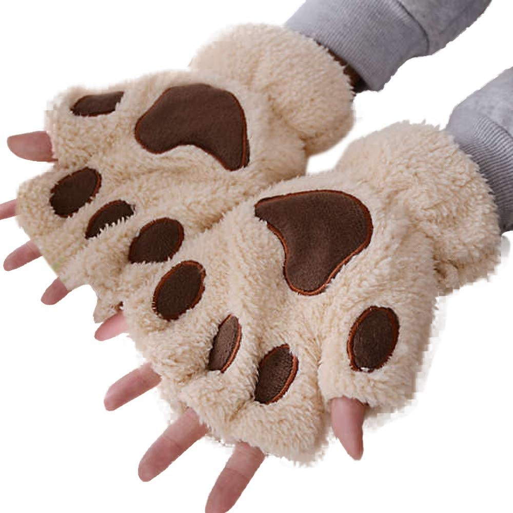 Women Cute Cat Paw Half-Finger Gloves Winter Thickening Warm Soft Fingered Gloves Cosplay Costume for Women Girls