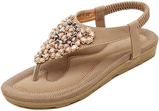 Yefree Chancletas con Cuentas Planas de Verano de Sandalias con Cordones Zapatillas de Playa con Diamantes de imitación