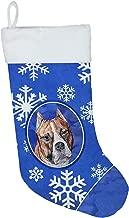 "Caroline's Treasures SC9776-CS Staffordshire Bull Terrier Staffie Winter Snowflakes Christmas Stocking, 11 x 18"", Mulitcolor"