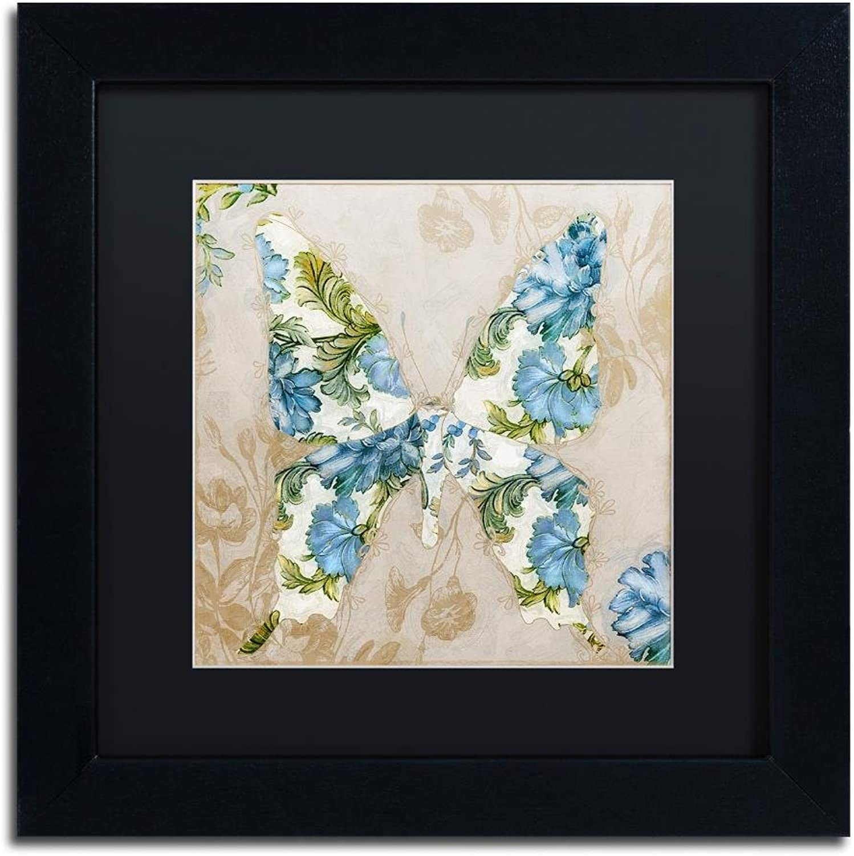 Trademark Fine Art Winged Tapestry I by color Bakery, Black Matte, Black Frame 11x11