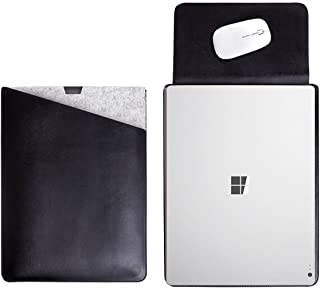 WALNEW 13.5 Inch Microsoft Surface Book/Surface Book 2 (2017) Protective Soft Sleeve Case Cover Bag with Safe Interior and Exterior Mouse Pad,Black