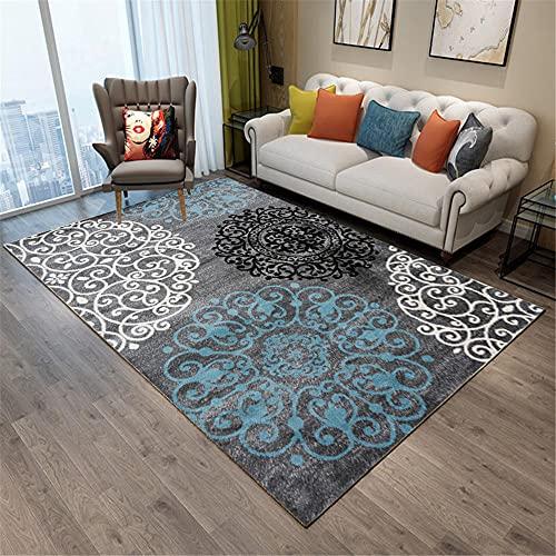 Alfombras Decoracion Entrada recibidor Alfombra Azul del Vintage Azul Gris Fácil de Limpiar y Duradero alfombras para escaleras alfombras Infantil 180*280cm