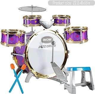 Lcyus Children's Toy Drum, Children Drum Kit Play Set Drums Musical Toy Instrument Pedal Stool to Stimulating Children's Creativity (Purple)