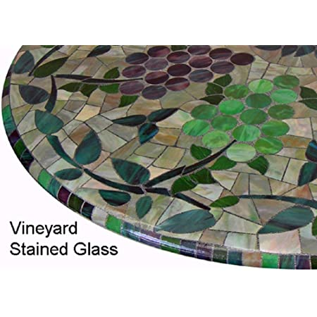 Amazon Com Mosaic Table Cloth Round 36 To 48 Elastic Edge Fitted Vinyl Table Cover Vineyard Stained Glass Pattern Brown Purple Green Kitchen Dining