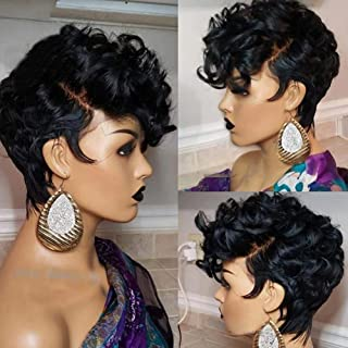 QDBOWIN QUEEN HAIR Full Lace Human Hair Short Bob Lace Front Wig Pre Plucked Pixie Bouncy Curly Wigs 150% Density Deep Side Part Remy Brazilian Human Hair Wigs For Women (10inch, Full Lace Wig)