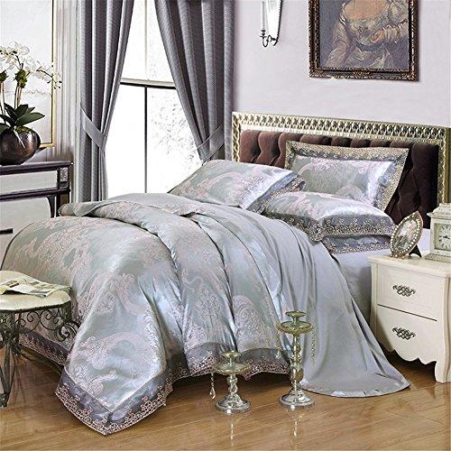 BB.er Tencel jacquard été literie ensembles de doux et lisse coton satin home textile literie collection, bleuâtre, 200X230cm