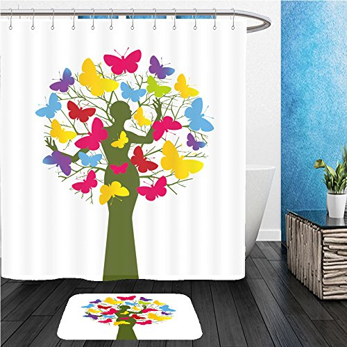 Beshowereb Bath Suit: ShowerCurtian & Doormat butterfly tree woman and tree separate elements use with or without 52419352
