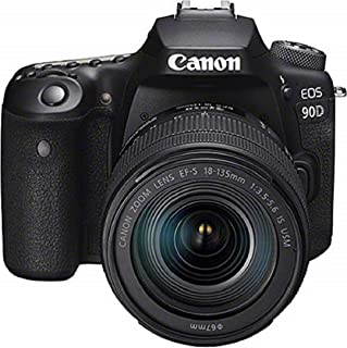 Canon EOS 90D - Cámara Réflex de 32.5 MP (Sensor APS-C 45 Puntos AF Disparos de 10fps EOS Movie 4k+Full HD Wi-fi Bluetooth) Negro - Kit Cuerpo con Objetivo EF-S 18-135mm f/3.5-5.6 IS USM