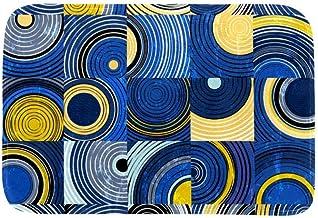 EGGDIOQ Doormats Abstract Circles and Squares Pattern Custom Print Bathroom Mat Waterproof Fabric Kitchen Entrance Rug, 23...