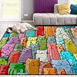 Naanle Colorful Animal Area Rug 5'x7', Funny Cats Family Pattern...