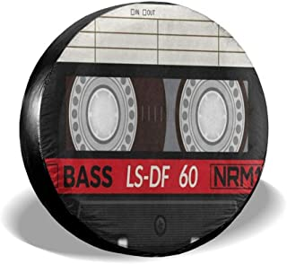 GAGH Spare Tire Cover Retro Audio Cassette Music Universal Spare Wheel Tire Cover Fit for Jeep, SUV and Many Vehicle