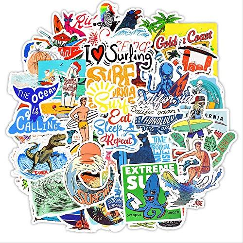 HONGC Pegatinas de Surf al Aire Libre, Deportes de Verano, Playa Tropical, Surf, Pegatinas Impermeables para Tabla de Surf DIY, Pegatina para monopatín, 50 Piezas