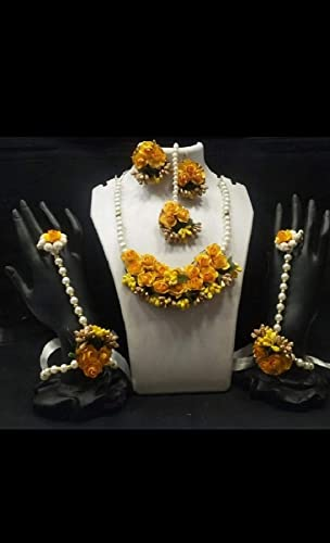 Floral Jewellery Set Nacklace Earrings Mang Tika Bracelet in Yellow Color for Women Girls Mehandi Haldi Baby Shower