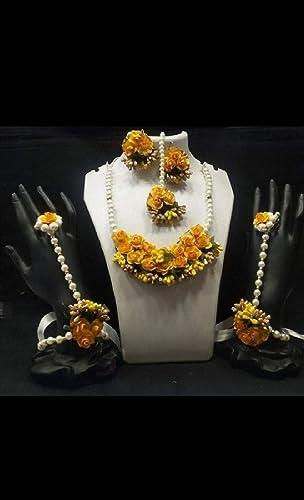 Floral Jewellery Set Nacklace Earrings Mang Tika Bracelet in Yellow Color for Women Girls Mehandi Haldi Baby Shower