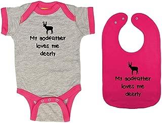 My Godfather Loves Me Deerly - Baby Ringer Bodysuit & Premium Bib Gift Set