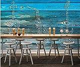 Wallpaper 3D Decoration Murals Wall Blue Wooden Board Music Symbol Guitar Saxophone Theme Bar Background Wall-150Cmx105Cm