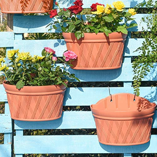 Sungmor Quality Plastic Wall Hanging Planter Semicircle 3PC Pack Brick Red Indoor Outdoor Home product image