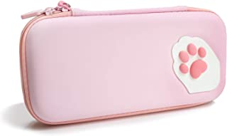 Niclogi Pink Cute Cat Paw Carry Case for Nintendo Switch Lite, Hard Shell Protective Cover Travel Bag with 10 Game Card Sl...