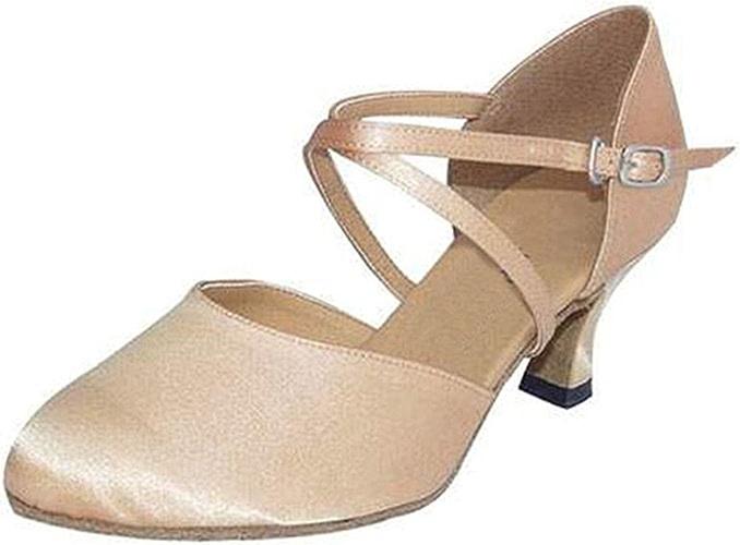 YFF Cadeaux Femmes Dance Danse Danse Latine Dance Tango Chaussures 5CM,Apricot Couleur,36