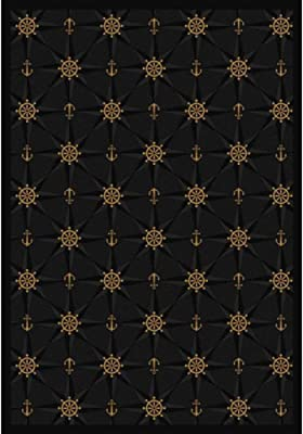 Joy Carpets Kaleidoscope Mariner's Tale Whimsical Area Rugs, 64-Inch by 92-Inch by 0.36-Inch, Onyx