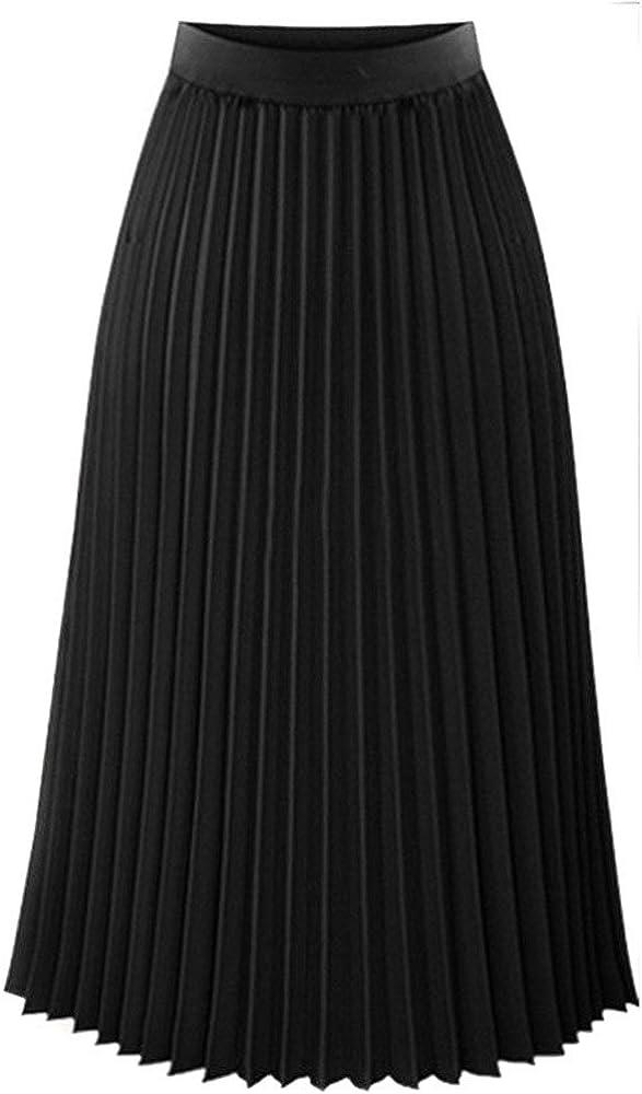 Award-winning store NREALY Cheap SALE Start Skirt Womens Solid Pleated Waist Elastic Elegant Max Midi