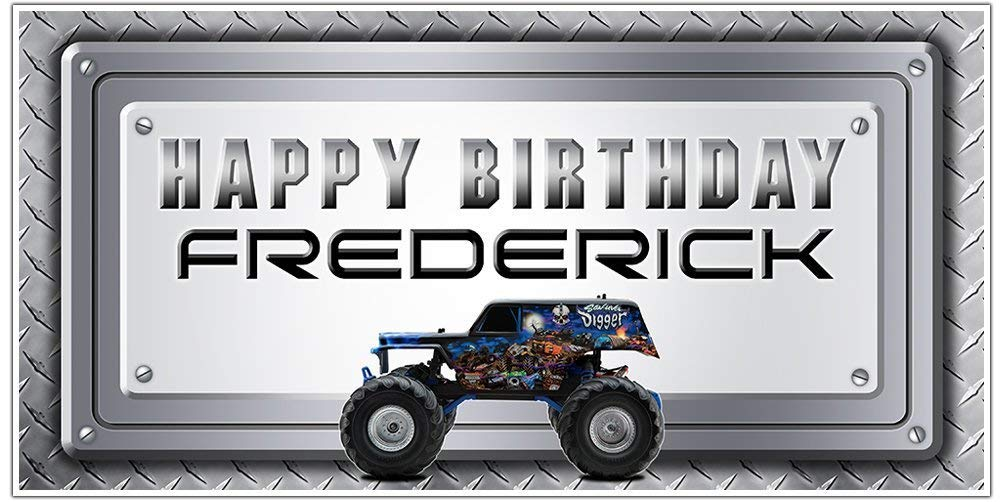 Monster Truck Birthday Banner Personalized Party Year-end gift Long Beach Mall Decoration Back