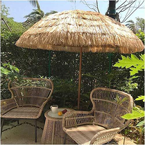 LDJ Parasol Marché Table Extérieur Patio Jardin Parapluie Naturel 1.6m Style Hawaïen, Simulation Parapluie De Paille, pour Balcon, Terrasse, Cour, Réglable en Hauteur