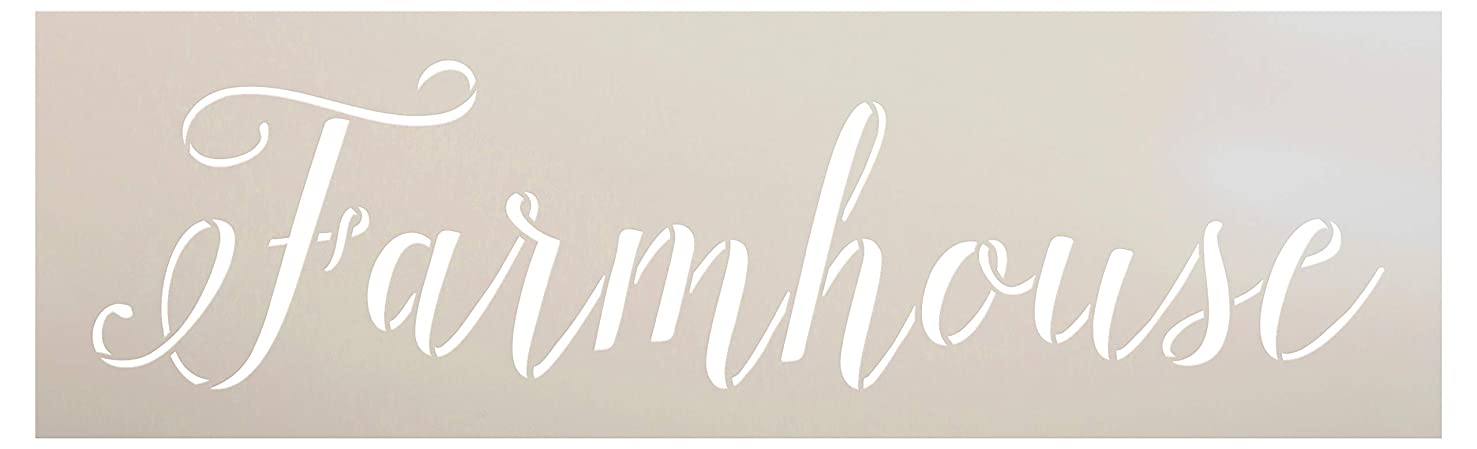 Farmhouse Word Stencil by StudioR12 | Wood Signs | Word Art - Reusable Mylar Template | Painting Chalk Mixed Media Multi-Media | Use for Journaling, DIY Home - Choose Size (11