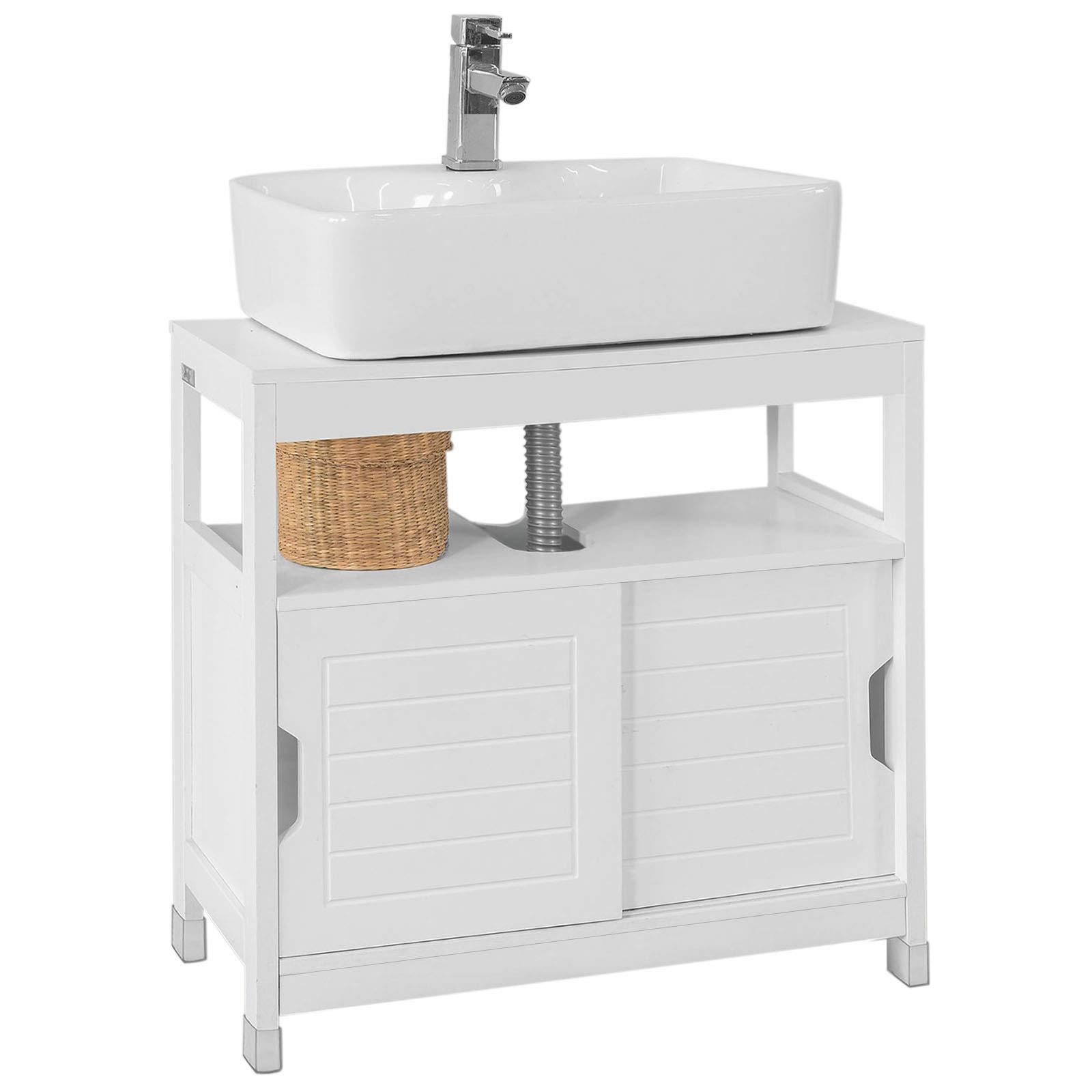 SoBuy FRG128-W - Armario bajero para lavabo, 1 altura y 2 puertas correderas, color blanco: Amazon.es: Hogar