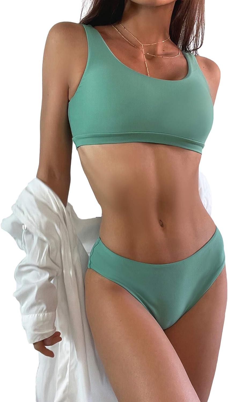 SweatyRocks Women's 2 Pieces Solid Scoop Neck Bikini Swimsuit