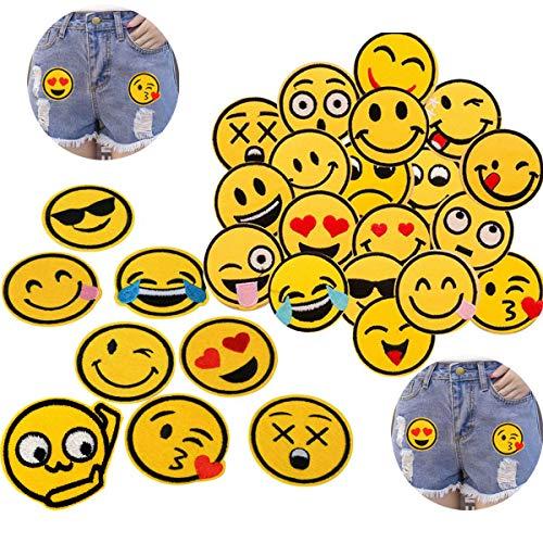 LANGING 52 Stück Emoji Expression Patches zum Aufbügeln Aufnäher Sticker Applikationen Nähen