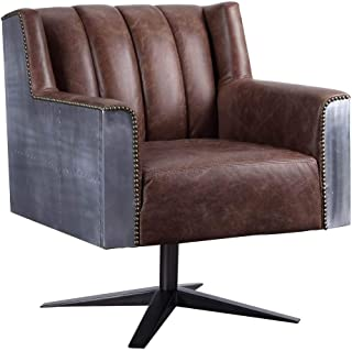 ACME Furniture 92553 Brancaster Executive Office Chair, Retro Brown Top Grain Leather and Aluminum