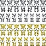 32 Pieces Bear Nail Art Rhinestones Shiny Alloy Bear 3D With Heart Crystal Nail Decoration Shiny Bear Nail Ornaments Bear with Heart Nails Decor Cute Bear Art Accessories for DIY Nail Art Design Decor