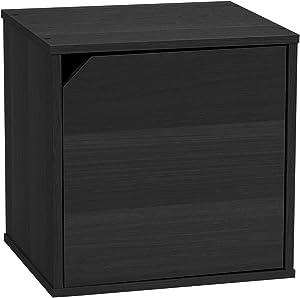 IRIS USA Modular Wood Storage Cube Box with Door, Black, 1 Pack CQB-35D 596441