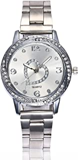 Hessimy Womens Fashion Watches New Ladies Business Bracelet Classic Heart Luxury Crystal Exquisite Watch Casual Stainless Steel Girls Gift Analog Quartz Wrist Watches for Women On Sale