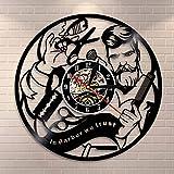 Rgzqrq Peluquería Salón Disco Vinilo Silencio Reloj de Pared En...