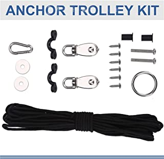 Kayak Anchor Trolley Kit, 10M Ropes Pad Eyes Taping Screws Anchor Pulley Snap Hook for Canoes Boats