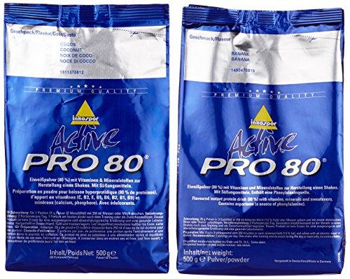 Inkospor Active Proteinshake Pro 80 Beutel 2er Mix Pack (2 x 500 g) Banane/Cocos, 1er Pack (1 x 1 kg)