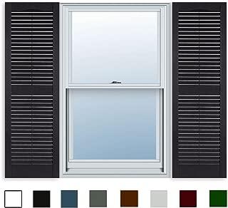 15 Inch x 63 Inch Standard Louver Exterior Vinyl Window Shutters, Black (Pair)