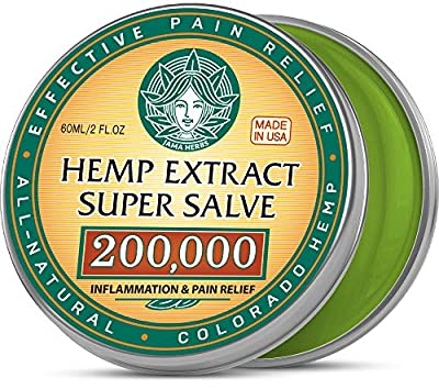Hemp Cream Super Salve - Made in USA - Natural Pain Relief Salve with 200,000 Raw Extract - Easy Back Pain & Arthritis treatment - Super Balm for Sore Muscles, Nerve Pain and Workout Injures - 2OZ from Jama Herbs